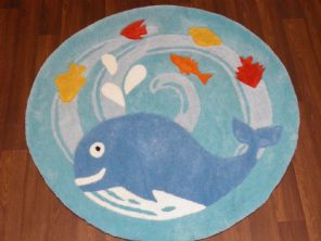 MODERN SALE PRICES KIDS THICK WHALE RUGS 90X90CM NEW BLUE/YELLOW TOP QUALITY